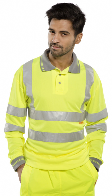 B Seen Hi Vis Long Sleeve Polo Shirt